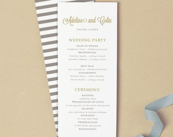 Printable Wedding Program Template | INSTANT DOWNLOAD | Gold Script | Flat Tea Length | Editable Colors | Mac or PC | Word & Pages