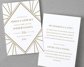 Wedding Program Template, Printable Wedding Program, Folded, Order of Service,  Gatsby, Cheap Programs, Mac or PC, INSTANT DOWNLOAD