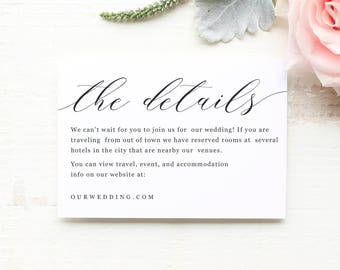 Details Card Enclosure Hotel Travel Info Website Directions Modern Calligraphy