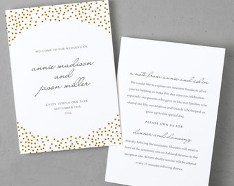 Folded Program Template | Microsoft Word or Mac Pages | Gold Dots | Folded 5x7 | 100% Editable Text and Colors | MAC or PC | Print Yourself