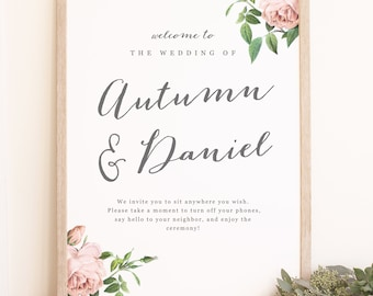 DIY Wedding Welcome Poster Template - Printable Welcome Sign - Vintage Botanical - Word or Pages  - 18x24 or 24x36 - INSTANT DOWNLOAD