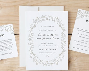 Printable Invitation Template   INSTANT DOWNLOAD   Floral Wreath   Word or Pages   Easy DIY   Editable Artwork Colors