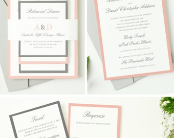INSTANT DOWNLOAD | Printable Pocket Wedding Invitation | Grey and Pink | Edit in Word or Pages | Editable Artwork Colors | Mac & PC
