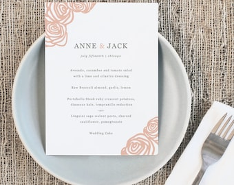 Printable Wedding Menu Template | INSTANT DOWNLOAD | Roses | 5x7 | Editable Colors | Mac or PC | Word & Pages