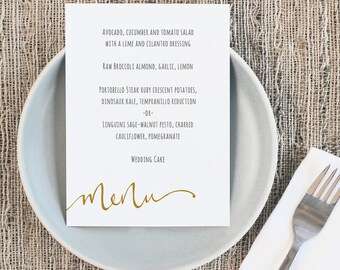Printable Wedding Menu Template | INSTANT DOWNLOAD | Calligraphy | 5x7 | Editable Colors | Mac or PC | Word & Pages