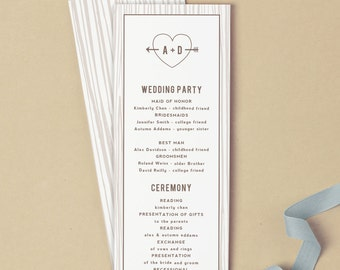 Printable Wedding Program Template | INSTANT DOWNLOAD | Initial Tree | Flat Tea Length | Editable Colors | Mac or PC | Word & Pages