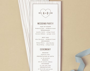 Printable Wedding Program Template   INSTANT DOWNLOAD   Initial Tree   Flat Tea Length   Editable Colors   Mac or PC   Word & Pages