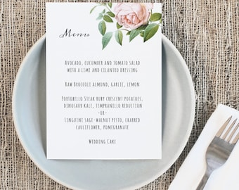 Printable Wedding Menu Template | INSTANT DOWNLOAD | Vintage Botanical | 5x7 | Mac or PC | Word & Pages