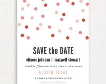 Printable Save the Date Template | INSTANT DOWNLOAD | Confetti | Word or Pages Mac & PC | 4.25x5.5 | Any Colors