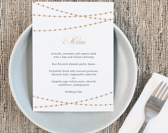 Printable Wedding Menu Template | INSTANT DOWNLOAD | Lights | 5x7 | Editable Colors | Mac or PC | Word & Pages