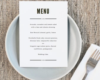 Printable Wedding Menu Template | INSTANT DOWNLOAD | Nightlife| 5x7 | Editable Colors | Mac or PC | Word & Pages