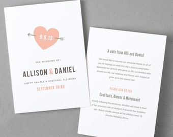 Printable Wedding Program Template | Instant DOWNLOAD | Heart | Folded 5x7 | Mac or PC - Pages or Word | Easy DIY | Editable Artwork Colors