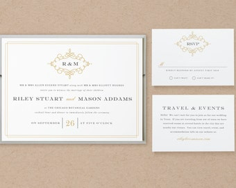 Printable Wedding Invitation Template | INSTANT DOWNLOAD | Ornate | Word or Pages | Easy DIY | Editable Artwork Colors