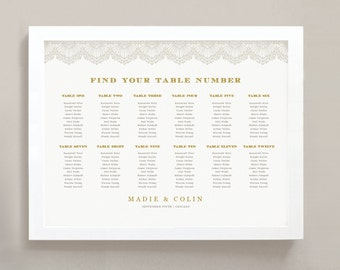 INSTANT DOWNLOAD | Printable Seating Chart Poster Template | Lace | Word or Pages | 18x24 | Editable Artwork Colors