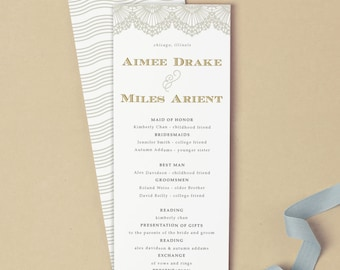 Printable Wedding Program Template | INSTANT DOWNLOAD | Lace | Flat Tea Length | Editable Colors | Mac or PC | Word & Pages