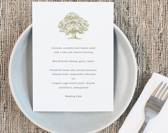 Printable Wedding Menu Template | INSTANT DOWNLOAD | Oak Tree | 5x7 | Editable Colors | Mac or PC | Word & Pages
