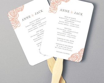 Instant Download | DIY Wedding Program Fan Template - Roses - Editable Colors | Mac or PC | Word & Pages | 5x7