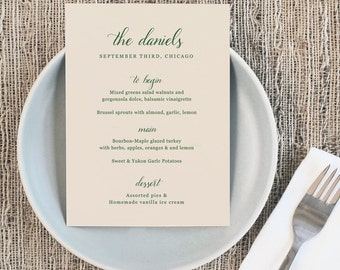 Printable Wedding Menu Template | INSTANT DOWNLOAD | Handwritten | 5x7 | Editable Colors | Mac or PC | Word & Pages