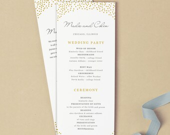 Printable Wedding Program Template | INSTANT DOWNLOAD | Gold Dots | Flat Tea Length | Editable Colors | Mac or PC | Word & Pages