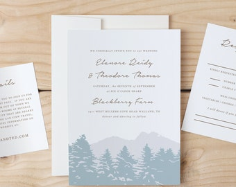 Instant Download Printable Wedding Invitation Template   Smoky Mountain   Word or Pages   MAC or PC   Editable Artwork Colors