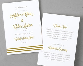 Download and Print Folded Wedding Program Template | Instant DOWNLOAD | Gold Script | Folded 5x7 | Mac & PC | Compatible with Microsoft Word