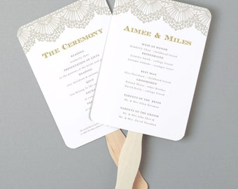 Instant Download | DIY Wedding Program Fan Template - Lace - Editable Colors | Mac or PC | Word & Pages | 5x7