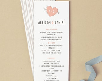 Printable Wedding Program Template | INSTANT DOWNLOAD | Heart | Flat Tea Length | Editable Colors | Mac or PC | Word & Pages