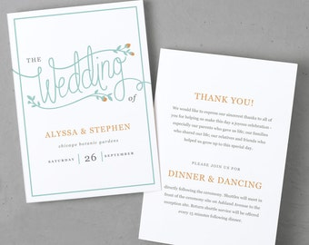 Printable Wedding Program Template | Instant DOWNLOAD | Garden | Folded 5x7 | Mac or PC - Pages or Word | Easy DIY | Editable Artwork Colors