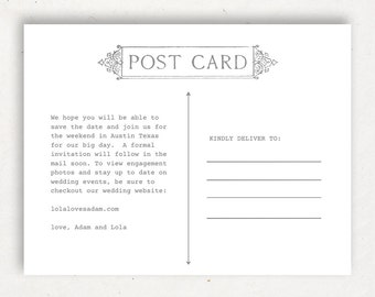 Printable Postcard Template | INSTANT DOWNLOAD | Postcard Back | Word or Pages Mac & PC | 4.25x5.5 | Any Colors