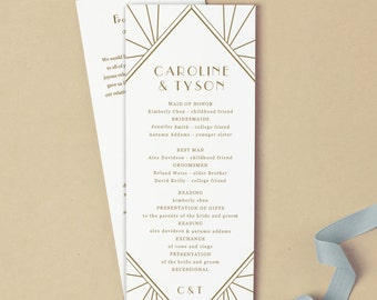 Printable Wedding Program Template | INSTANT DOWNLOAD | Gatsby | Flat Tea Length | Editable Colors | Mac or PC | Word & Pages