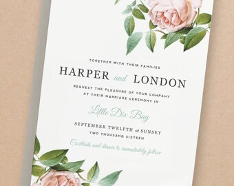 Printable Wedding Invitation Template | INSTANT DOWNLOAD | Vintage Botanical | Word or Pages | Editable Artwork Colors
