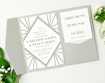 Pocket Wedding Invitation Template - Printable Wedding Suite | Gatsby | Edit in Word or Pages | Mac & PC | INSTANT DOWNLOAD