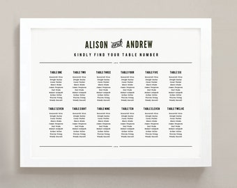 INSTANT DOWNLOAD | Printable Seating Chart Poster Template | Nightlife | Word or Pages | 18x24 | Editable Artwork Colors