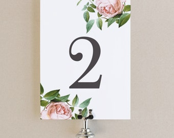 Table Numbers Template - DIY Printable  | Instant DOWNLOAD | Vintage Botanical | Flat 5x7 | Editable Colors | Mac or PC | Word & Pages