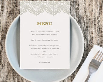 Printable Wedding Menu Template | INSTANT DOWNLOAD | Lace | 5x7 | Editable Colors | Mac or PC | Word & Pages