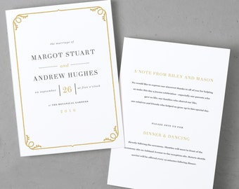 Gold Border DIY Folded Program Template | Instant DOWNLOAD | Darby | Folded 5x7 | Editable Colors | Word or Pages, Mac or PC
