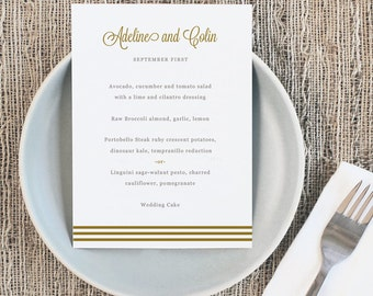 Printable Wedding Menu Template   INSTANT DOWNLOAD   Gold Script   5x7   Editable Colors   Mac or PC   Word & Pages