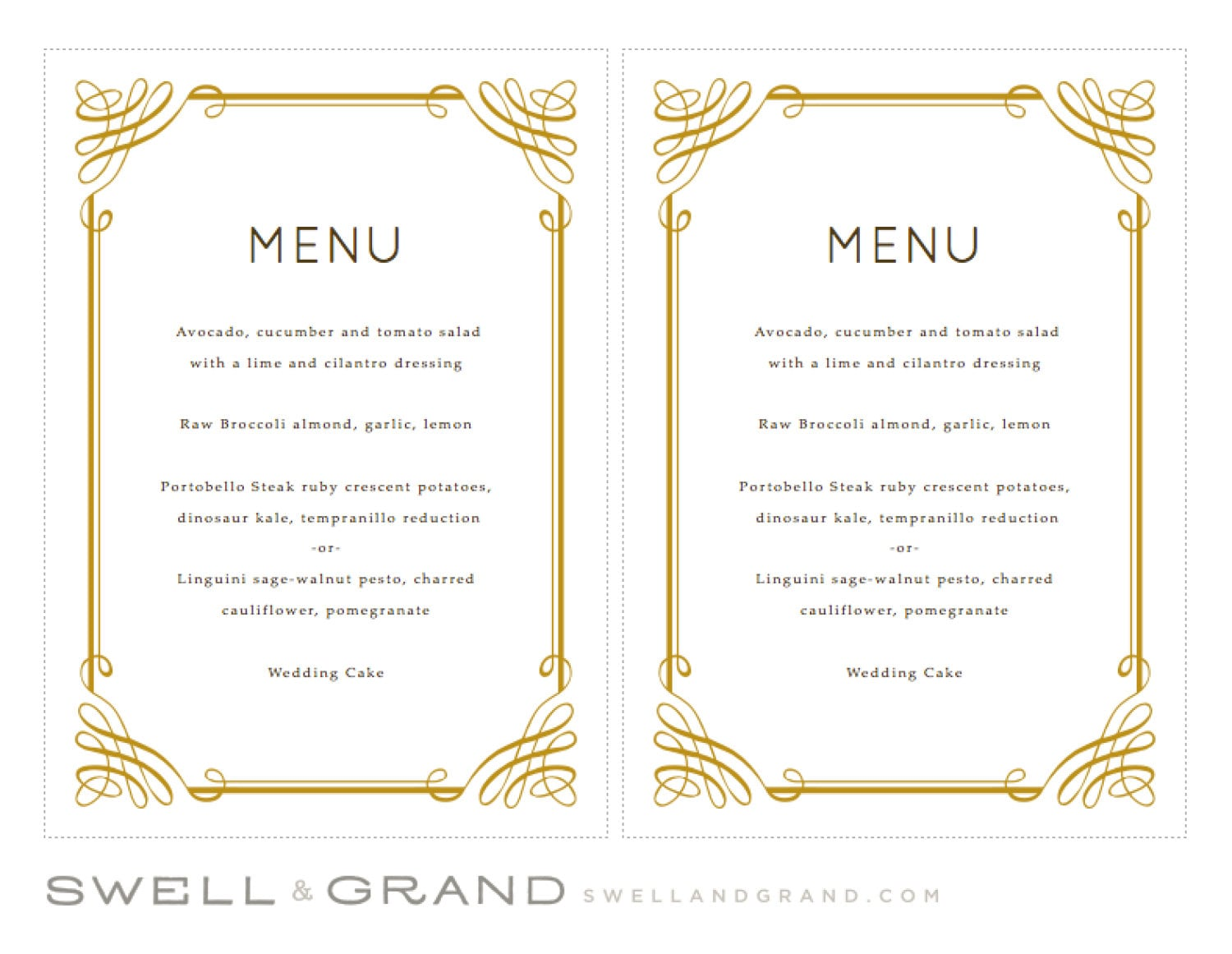 Printable Wedding Menu Template | INSTANT DOWNLOAD | Classic | 5x7 ...