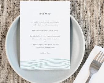 Printable Wedding Menu Template   INSTANT DOWNLOAD   Ocean   5x7   Editable Colors   Mac or PC   Word & Pages
