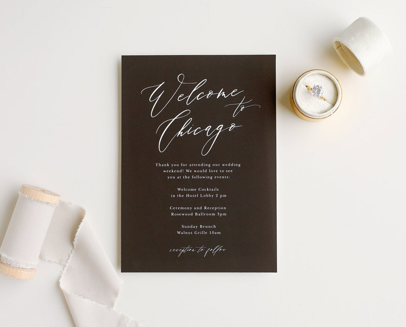 Wedding Welcome Card  Modern Calligraphy image 0