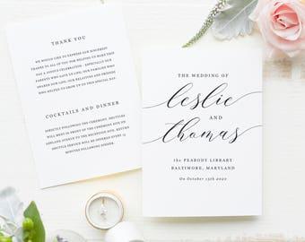 Wedding Programs Template, Printable Wedding Programs, Folded Programs, Vintage Wedding Program, Modern Calligraphy | SUITE032