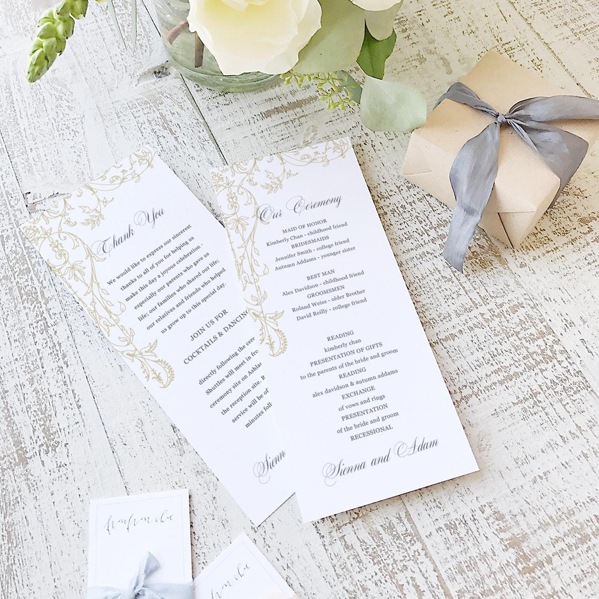 instant printable wedding program template instant download