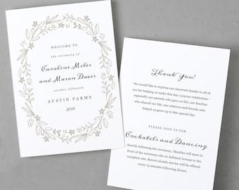 Printable Wedding Program Template, Order of Service, Floral Wreath, Mac or PC, 100% Editable, Cheap Wedding Program, INSTANT DOWNLOAD