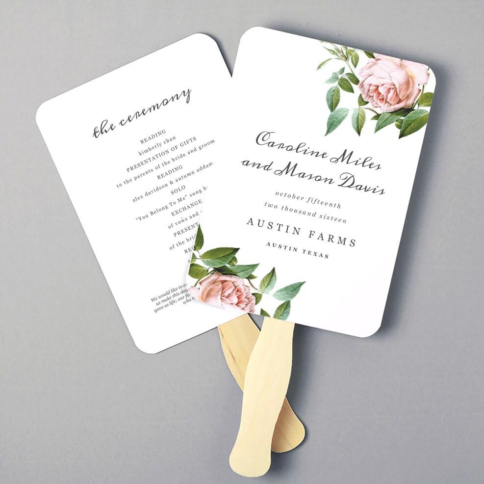 Printable Fan Program Template Wedding Vintage Botanical DIY In Microsoft Word Or Apple Pages INSTANT DOWNLOAD