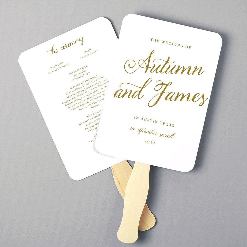 Instant Download | DIY Wedding Program Fan Template - Romantic ...