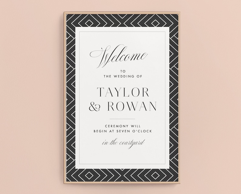 Wedding Welcome Sign Welcome Poster Modern Typography image 0