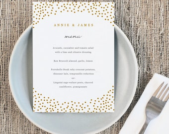 Printable Wedding Menu Template   INSTANT DOWNLOAD   Gold Dots   5x7   Editable Colors   Mac or PC   Word & Pages