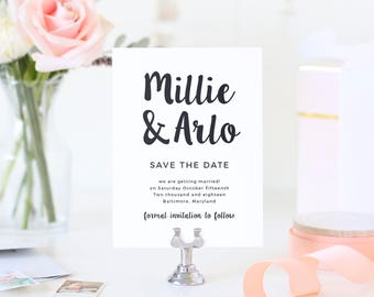 Save The Dates Template, Printable Save the Date, Save Our Date, Painted Script | SUITE031