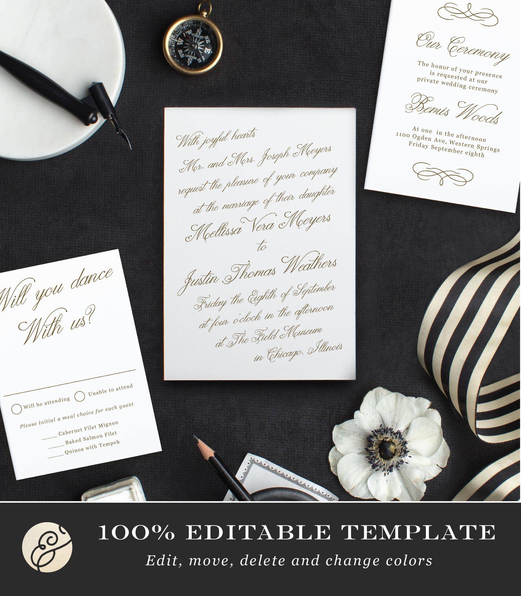 Print Your Own Wedding Invitations: Printable Template Design Your Own Wedding Invitation