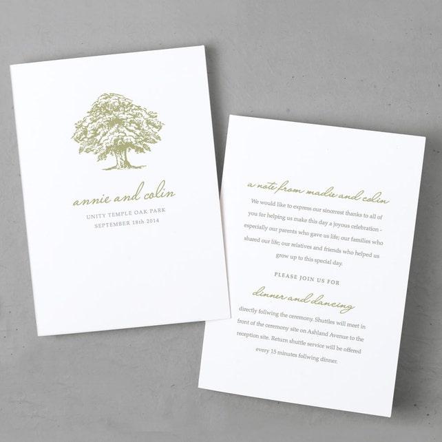 Printable Wedding Program Template Instant Download Oak Tree